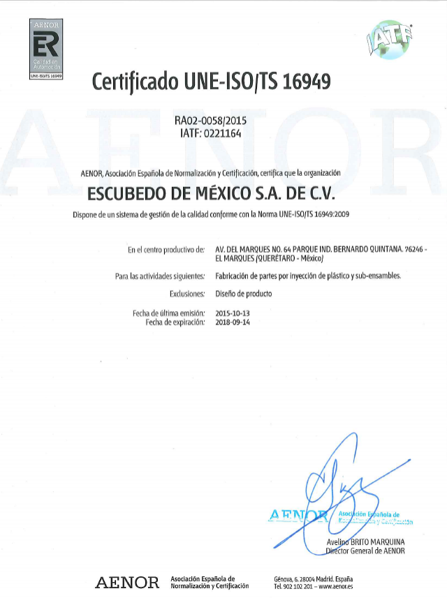 Escumex achieves TS-16949 certification